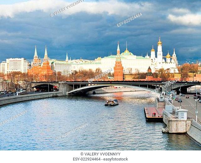 sunlight illuminates Moscow Kremlin