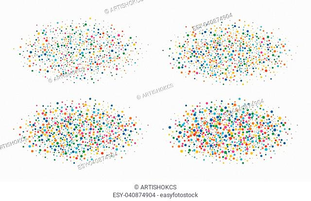 Set of vector colorful bright rainbow colors oval clouds with confetti round papers isolated on white background. Birthday Carnival Holiday design element