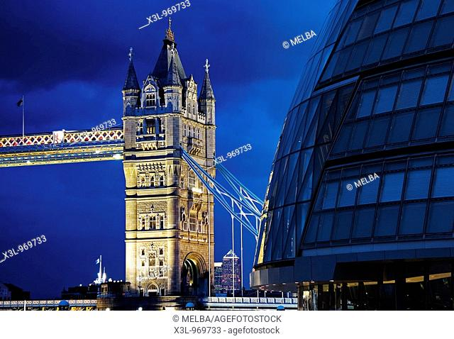 Tower Bridge and City Hall over the Thames River at Night  London  United Kingom
