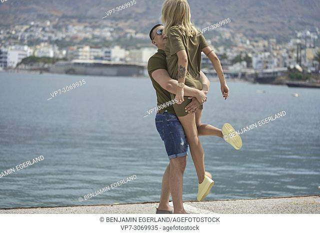 Happy young couple, Russian ethnicity, Hersonissos, Crete, Greece