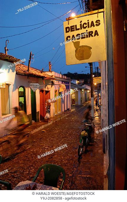 Brazil, Bahia, Lencois (Parque Nacional de Chapada Diamantina): Though hit by a thunder-storm the small shopping streets in Lencois' centre don't loose their...