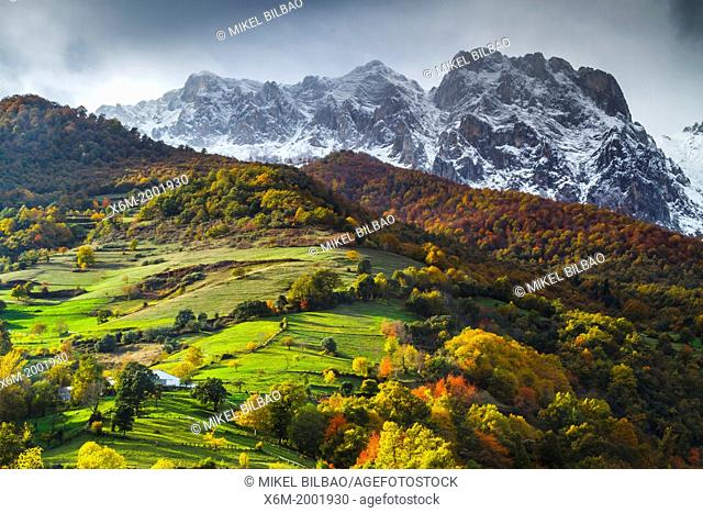 Snow-covered mountains. Picos de Europa National Park