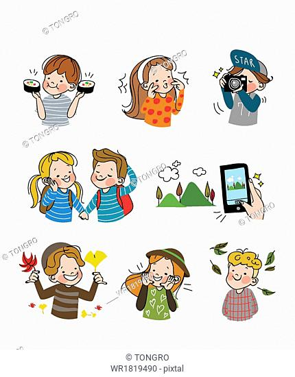 An emoticon set with people