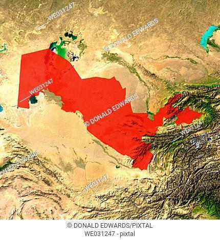 Highlighted satellite image of Uzbekistan