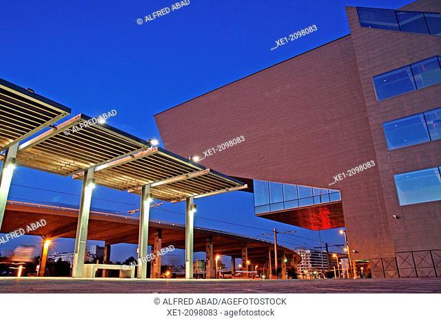DHUB building, Design Museum, 2013, arch. Martorell, Bohigas and Mackay, Plaça de les Glòries, Barcelona, Catalonia, Spain