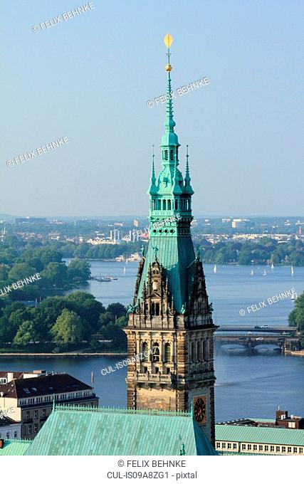 Elevated view of City Hall and Lake Alster, Hamburg, Germany