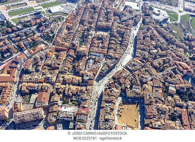 VIC, CATALONIA, SPAIN - MARCH 2018: Aerial views of the city of Vic, from the hot air balloon participating in the XXXV edition of the International Mercat Ram...