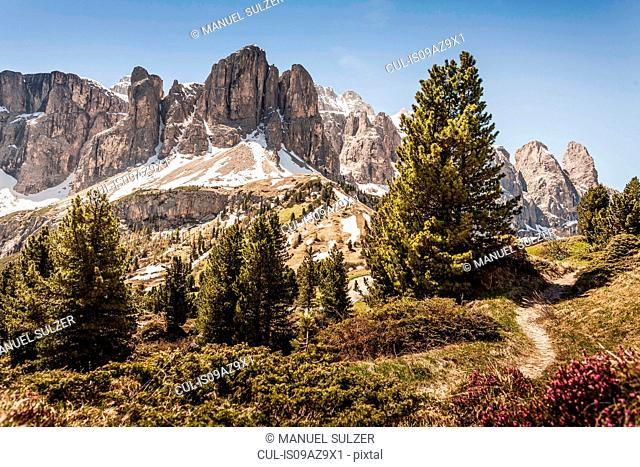 Dolomites; view on Sella group, Alta Badia, South Tyrol, Italy