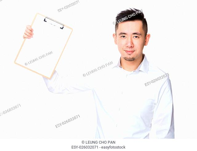 Asian Businessman show with the clipboard