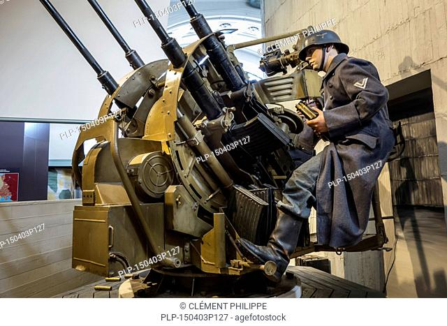 German World War Two 2cm Flak 38 / Flakvierling - four-barreled 20mm anti-aircraft cannon at the Royal Museum of the Army and of Military History in Brussels