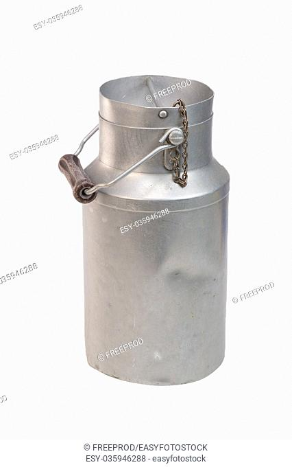 Aluminium milk can on white background, Food and Drink