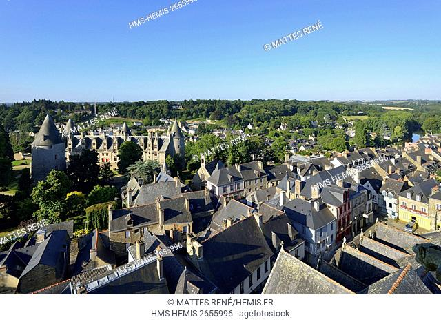 France, Morbihan, stop on the Way of St James, Josselin, medieval village, Josselin castle in flaming gothic style