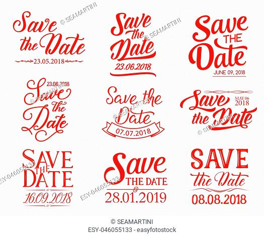 Save the Date lettering for wedding ceremony celebration design. Hand drawn calligraphy font with ribbon banner for engagement invitation or marriage greeting...