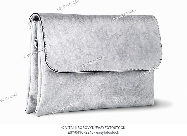 Elegant gray female clutch bag rotated isolated on white background