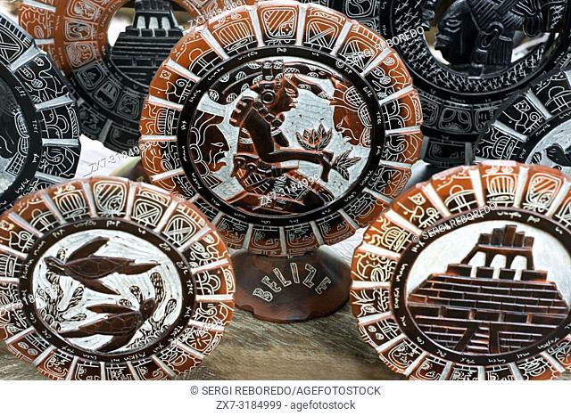 Mayan calendar, Local handicraft shops by the ferry to Xunantunich, San Jose Succotz, San Ignacio, Cayo, west Belize, Central America