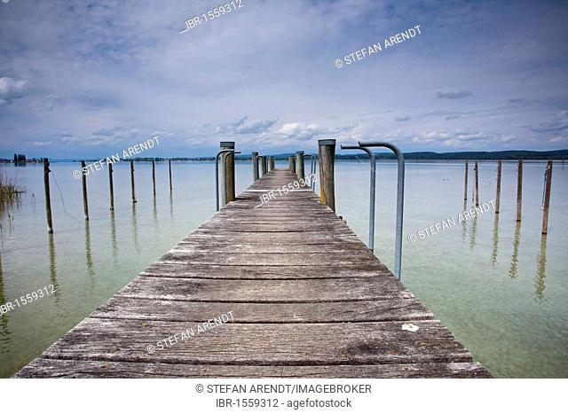 Jetty at low tide in the spring near Triboltingen, Ermatingen, Canton Thurgau, Switzerland, Europe