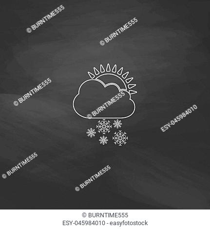 Cloud snow Simple line vector button. Imitation draw with white chalk on blackboard. Flat Pictogram and School board background