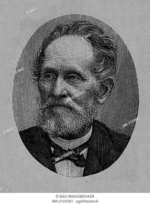 Hermann Christian Dietrich Backhaus, 1817 - 1901, a German agronomist and politician, wood engraving, about 1880