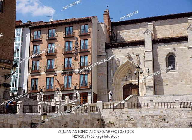 San Nicolas de Bari Church from Santa Maria Square.Burgos, Castilla y Leon, Spain