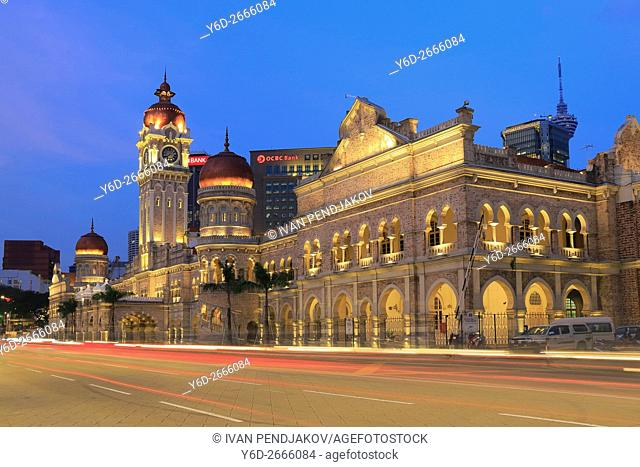 Sultan Abdul Samad Building at Dusk, Merdeka Square, Kuala Lumpur, Malaysia