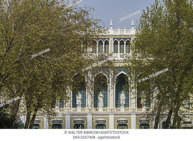 Azerbaijan, Baku, Nizami Literature Museum, exterior statues