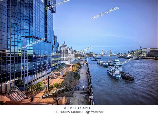 England, London, City of London. The River Thames and Tower Bridge