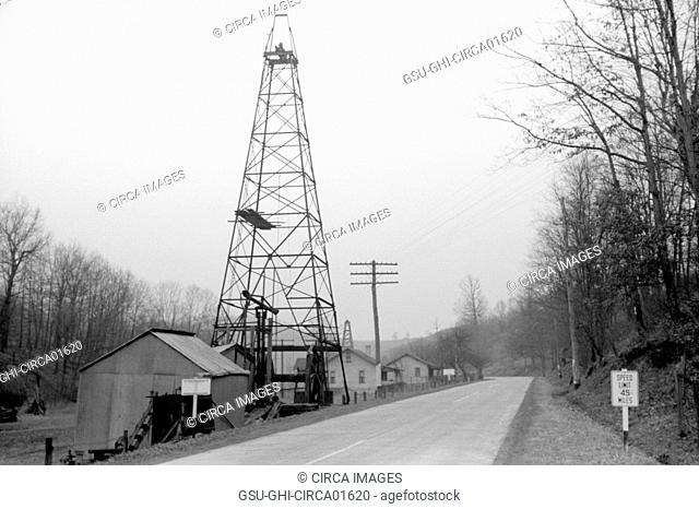 Oil Well on Highway U.S. 50, Ritchie County, West Virginia, USA, Arthur Rothstein for Farm Security Administration, February 1940