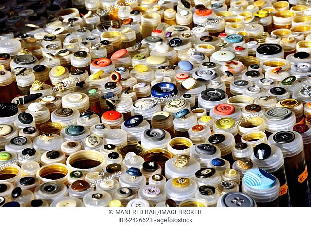 Various buttons at the Auer Dult annual market, Munich, Bavaria, Germany, Europe