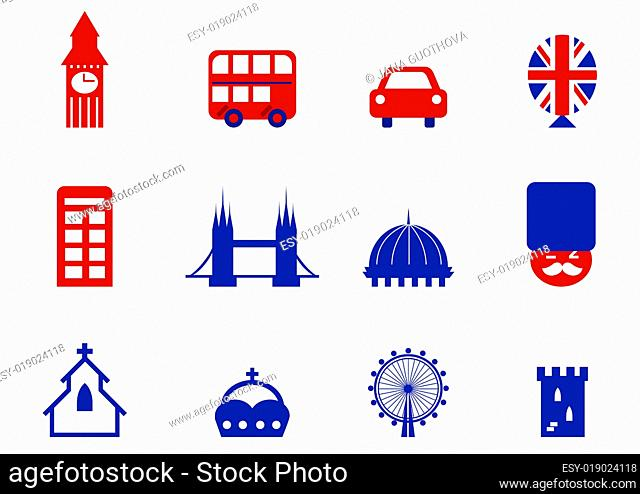 London &amp English icons and design elements isolated on white ( red and blue