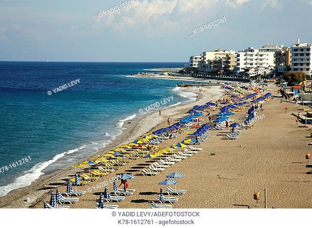 View over Elli Beach, the main beach of Rhodes Town, Rhodes, Greece