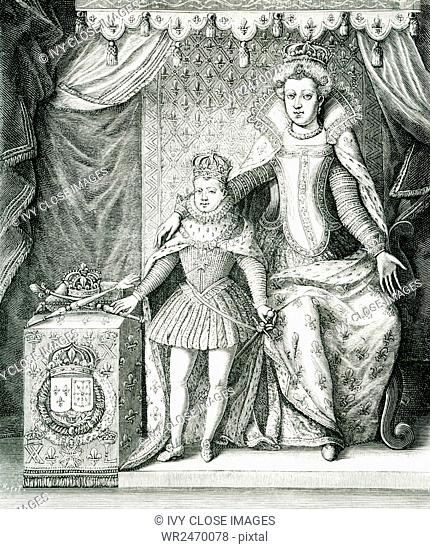 The caption for this engraving reads: Marie de Medicis, the regent and her son, Louis XIII of France. The image is based on a print that was signed: Nicolas de...