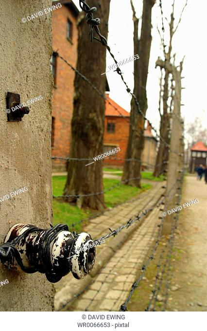 The electric fence at Auschwitz concentration camp, Oswiecim, Poland