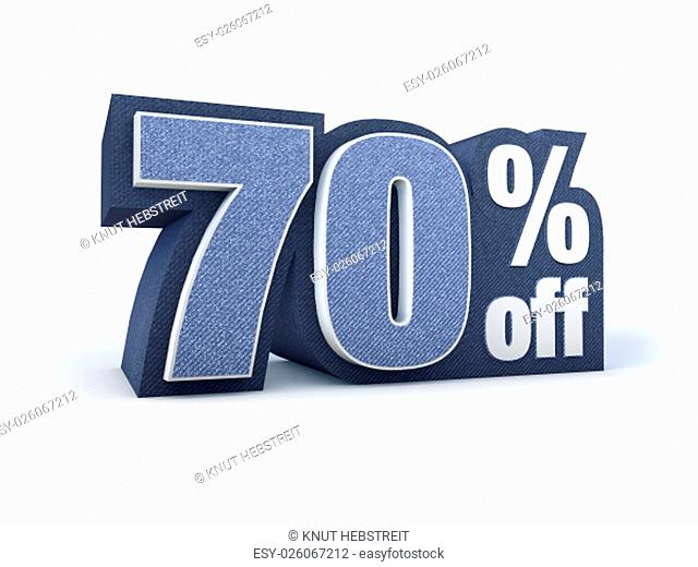 Discount price sign in blueish denim look, isolated on white background, 3D rendering