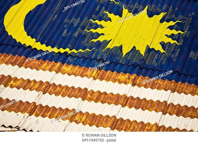 The Malasian Flag Painted On A Rooftop, Melaka Malaysia