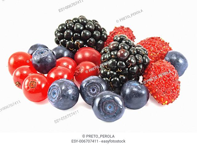 different fresh berries on white background