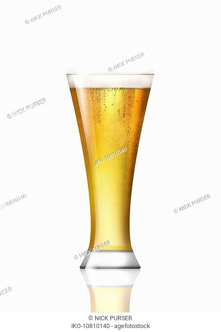 Beer glass of lager beer