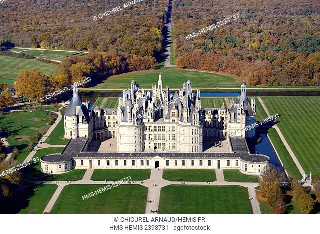 France, Loir et Cher, Loire valley listed as World Heritage by UNESCO, the castle of Chambord (aerial view)