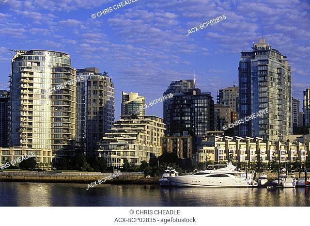 Morning view across False Creek to Concord Pacific condominiums, Vancouver, British Columbia, Canada