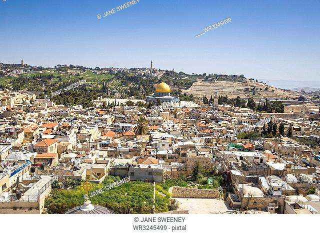 View towards Temple Mount and the Mount of Olives, Jerusalem, Israel, Middle East