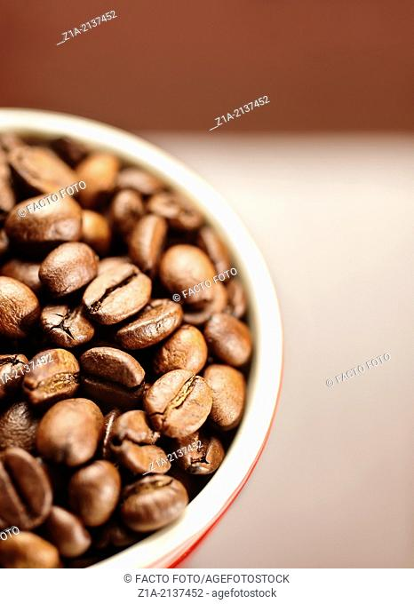 Close-up of natural coffee beans on a blurred background