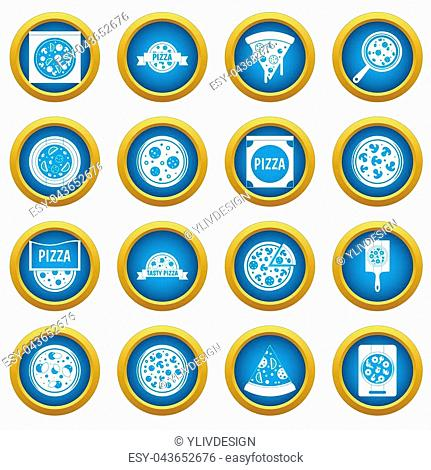 Pizza icons blue circle set isolated on white for digital marketing