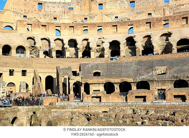 Interior of the 1st century Flaviam amphitheatre known as the Colosseum, Rome, Italy