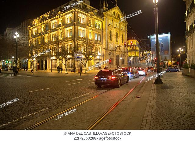 Praca da Liberdade by night is the town hall square in Porto on January 6, 2017 Portugal