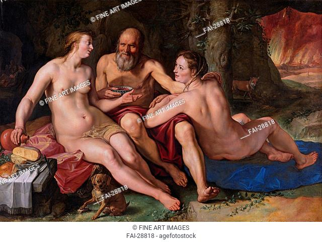 Lot and his Daughters by Goltzius, Hendrick (1558-1617)/Oil on canvas/Mannerism/1616/The Netherlands/Rijksmuseum, Amsterdam/140x204/Bible/Painting/Lot und seine...