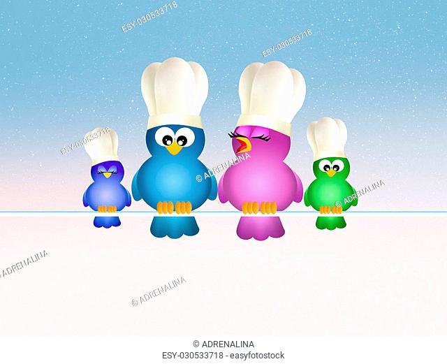 illustration of birds family cooks