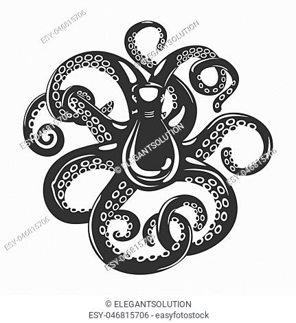 Cartoon black octopus with curved arms and suction cups on it, feeding tentacle. Spineless squid or underwater cuttlefish, scary mollusk and swimming cephalopod