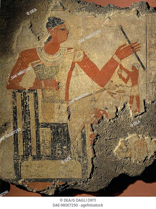 Egyptian civilization, Old Kingdom, Dynasty V. Fragment of painting depicting the son of the deceased burning incense before his father