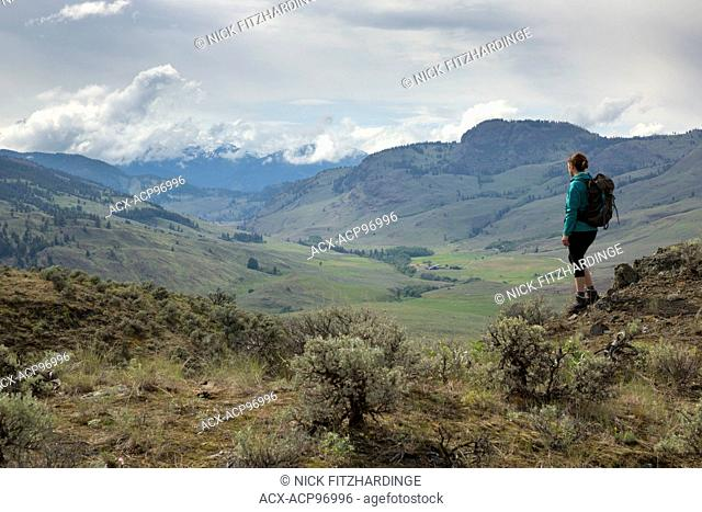 Female hiker looking out over the White Lake Grassland Protected Area, South Okanagan Valley, British Columbia, Canada