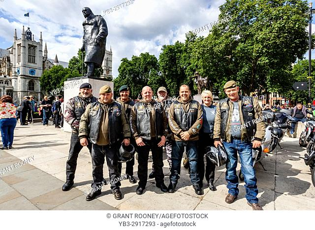 British Army Veterans and Members Of The Crusaders Motor Cycle Club Arrive In Parliament Square Before A March Against Terror, London, UK