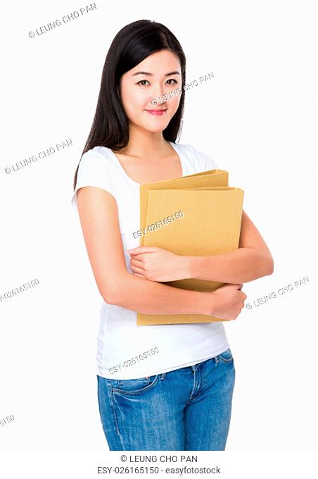 Woman hold with the folder